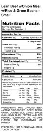 Lean Beef w_Onion Meal w_Rice & Green Beans - Small - Nutrition Label