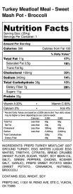 Turkey Meatloaf Meal - Sweet Mash Pot - Broccoli - Nutrition Label