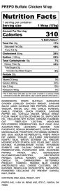 PREPD Buffalo Chicken Wrap - Nutrition Label
