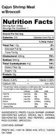 Cajun Shrimp Meal w_Broccoli - Nutrition Label