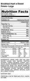 Breakfast Hash w_Sweet Potato- Large - Nutrition Label