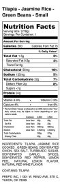 Tilapia - Jasmine Rice - Green Beans - Small - Nutrition Label