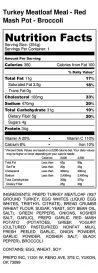 Turkey Meatloaf Meal - Red Mash Pot - Broccoli - Nutrition Label