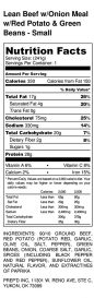 Lean Beef w_Onion Meal w_Red Potato & Green Beans - Small - Nutrition Label