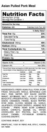 Asian Pulled Pork Meal - Nutrition Label