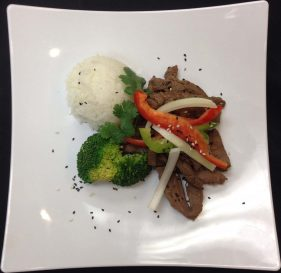 Mongolian Steak with Rice & Broccoli