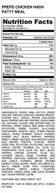 PREPD CHICKEN HASH PATTY MEAL - Nutrition Label