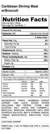Caribbean Shrimp Meal w_Broccoli - Nutrition Label